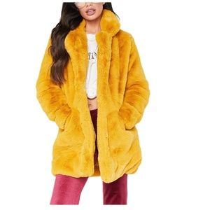 Casual Luxury Yellow Fur Coat
